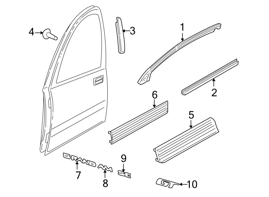 Pontiac Grand Am Door Molding (Lower). 2 DOOR, GT