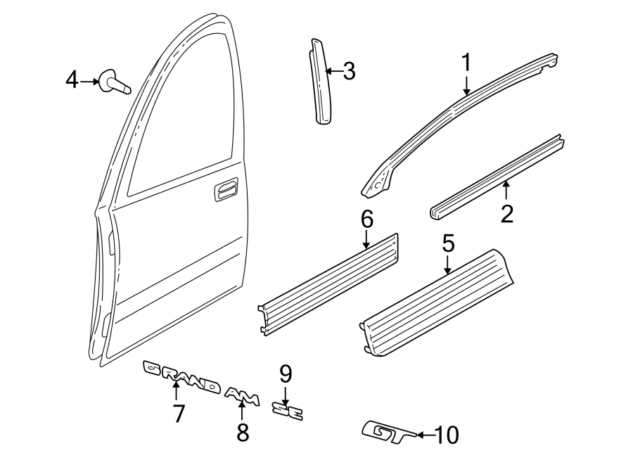 Pontiac Grand Am Door Window Belt Weatherstrip. 4 DOOR, GT