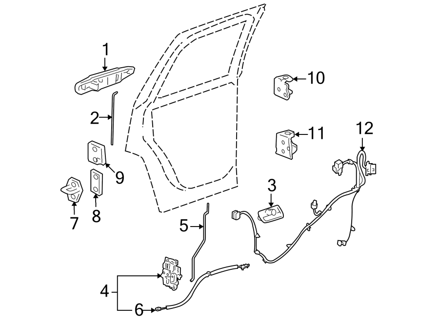 Cadillac Escalade ESV Door Wiring Harness (Rear
