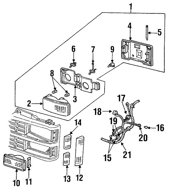 GMC K1500 Suburban Headlight Bracket (Upper, Lower