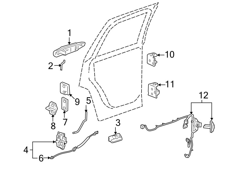Cadillac Escalade Door Wiring Harness (Rear). W/o premium