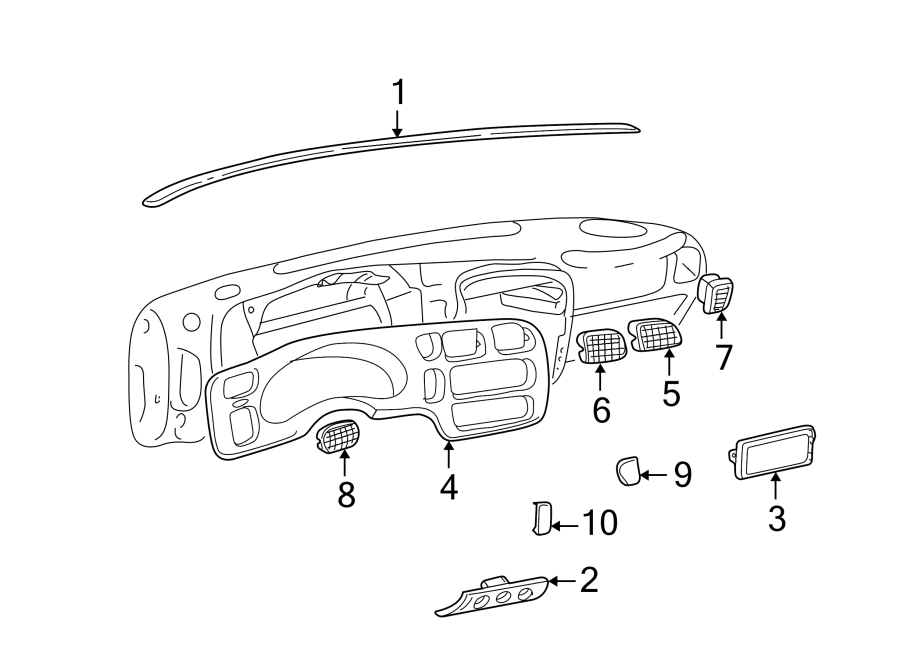 Chevrolet S10 Instrument. Bezel. Cluster. Panel. Trim
