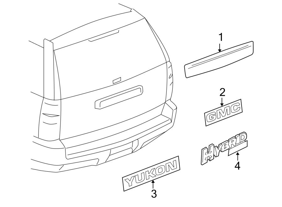 Chevrolet Suburban 2500 Liftgate Finish Panel. GMC, w