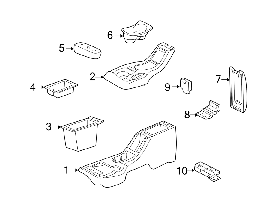 GMC Jimmy Console Cup Holder. CHEVROLET & GMC, 1995-97
