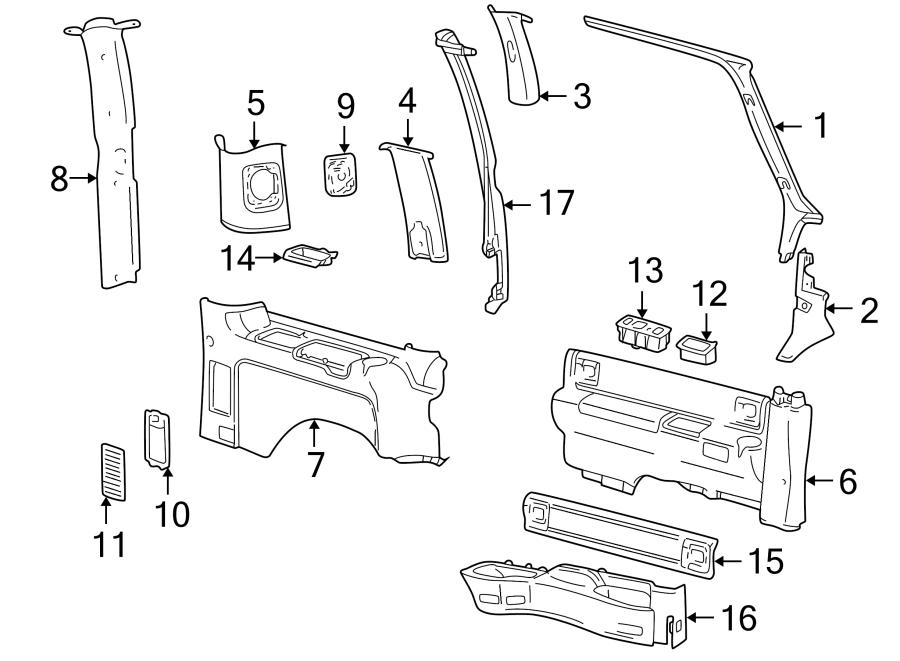 Chevrolet Astro Body D-Pillar Trim Panel (Rear, Upper