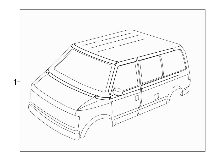 Chevrolet Astro Door Decal. TYPE 2, front door, upper