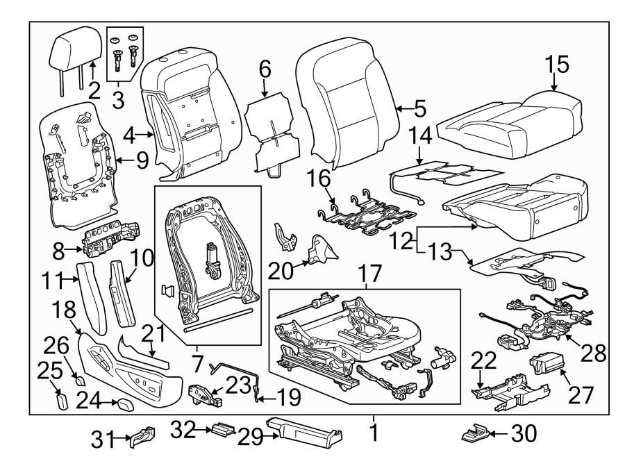 Chevrolet Silverado 1500 Power Seat Wiring Harness. BUCKET