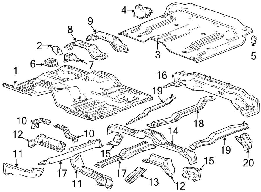 Chevrolet Silverado 2500 HD Floor Pan (Front, Rear). CREW