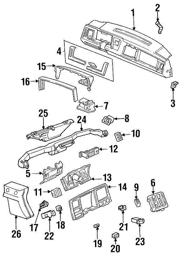 Chevrolet K2500 Hvac temperature control panel. 1992-94