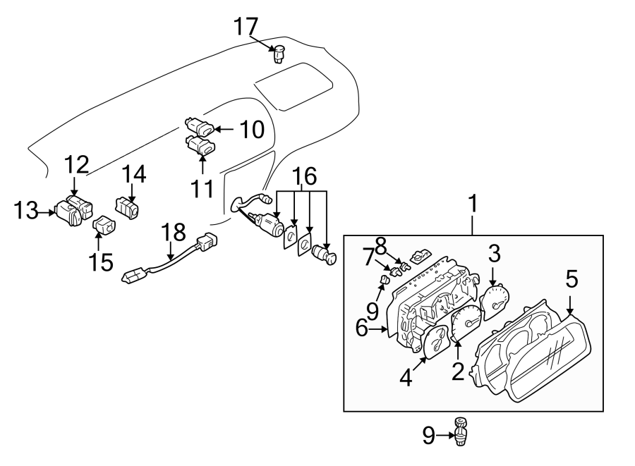 Chevrolet Tracker Ambient Light Sensor. Auto lamp. Tracker