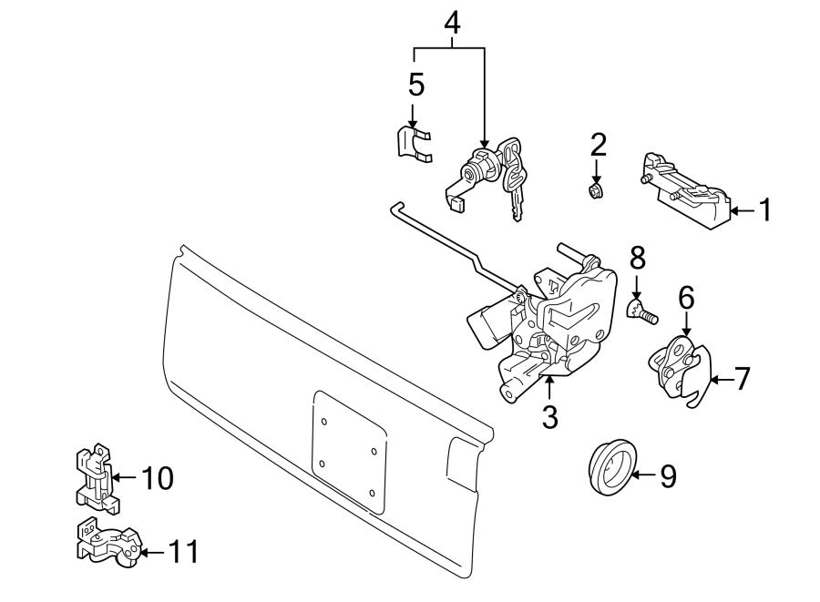 Chevrolet Tracker Latch. Lock. 2 Door. 4 Door. Cable