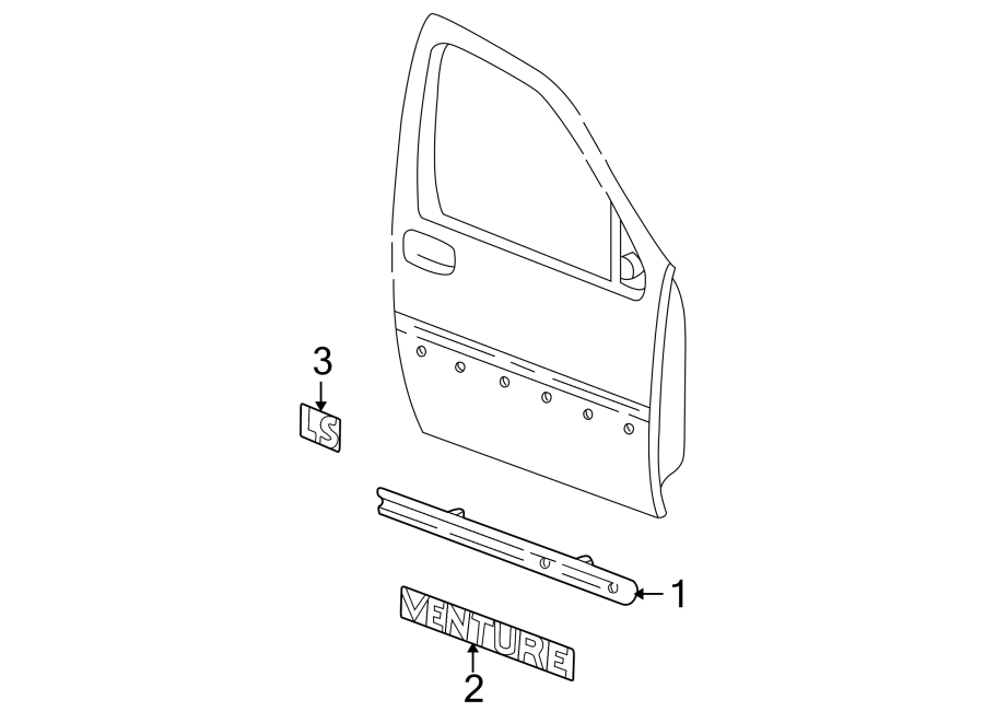 Chevrolet Venture Door Molding (Front, Lower). W/o Warner