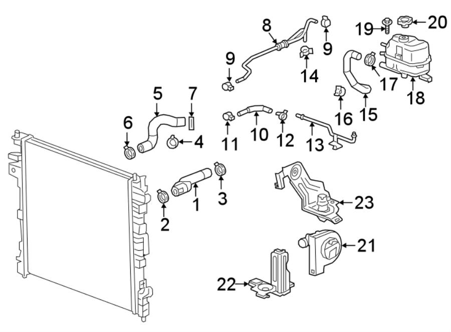 Chevrolet Traverse Radiator Coolant Hose. 2.0 LITER