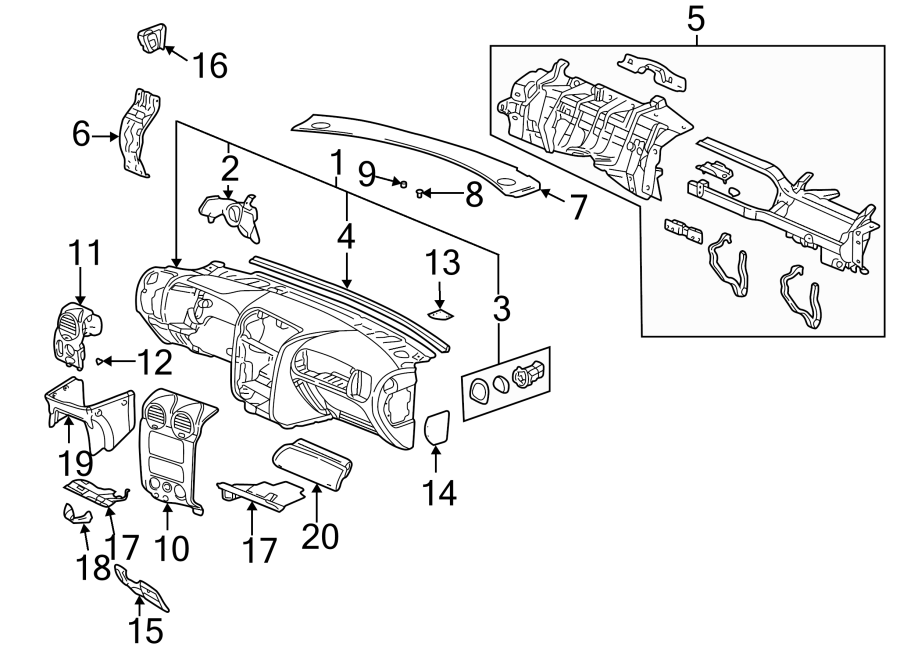 GMC Envoy Instrument Panel Cover (Upper). CHEVROLET, gray