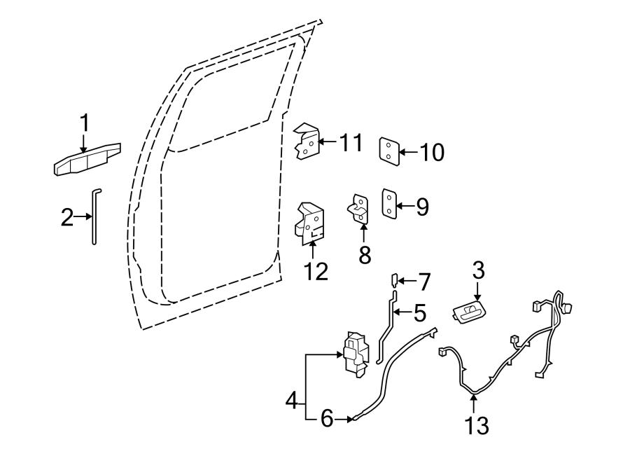 GMC Sierra 1500 Door Wiring Harness (Rear). CREW CAB, w/o