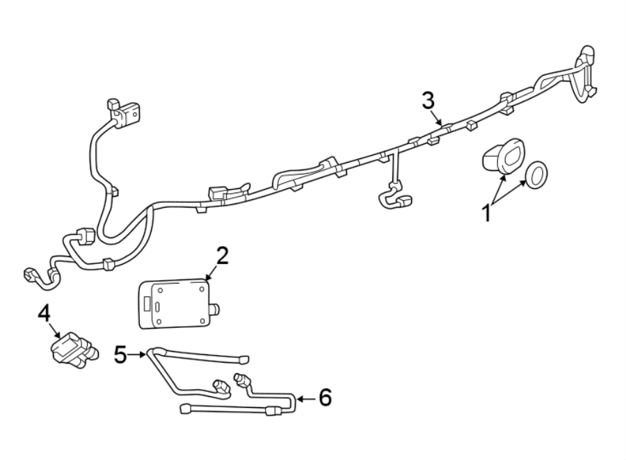 GMC Acadia Parking Aid System Wiring Harness. W/o park