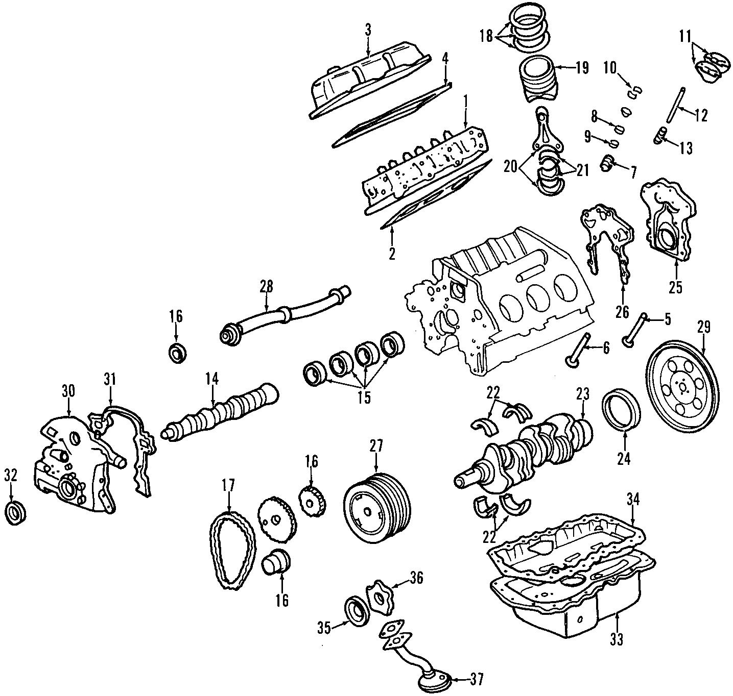 Pontiac Firebird Engine Camshaft Bearing. Models, Rear