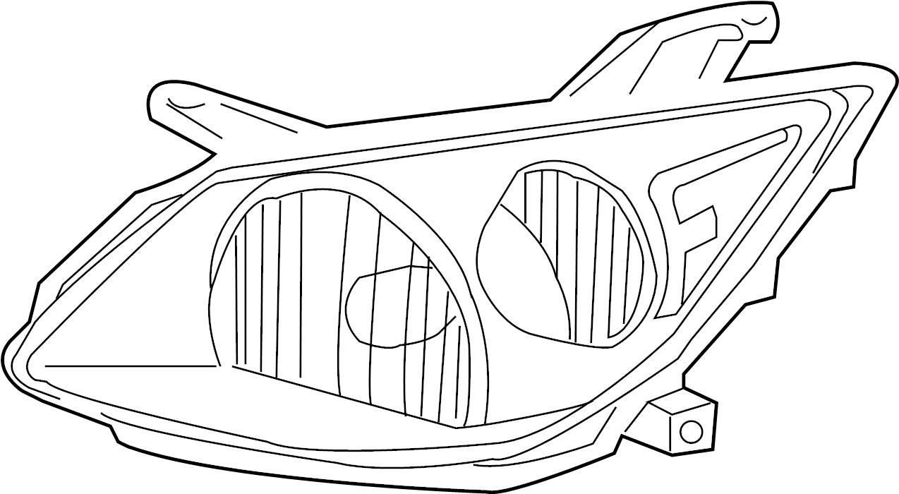 Pontiac Vibe Headlight. Vibe; Right. FRONT, Housing, Lens