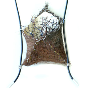 Sonia Szatkowska 'Message from the Road' 2004. Pendant; silver, palm fibre, wood, paper, leather
