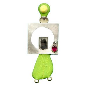 Silvia Walz 'Barbara' 2004. Brooch; silver, epoxy, ruby, plastic, photograph