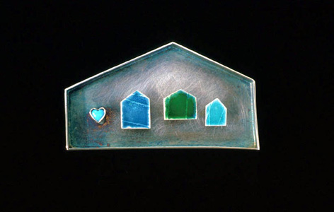 5.61 'House' 1999. Brooch; white metal (oxidised), enamel