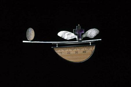 6.21 'Crossing l' 2000. Brooch; white metal, wood, amethyst, moonstone