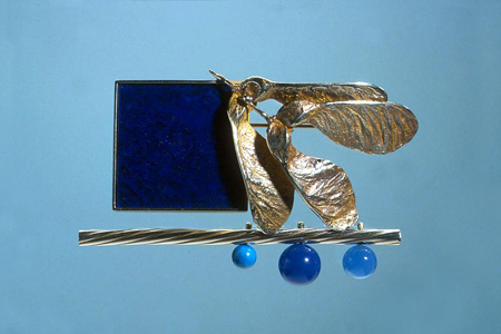 'Midnight Blues' 2003. Brooch; white metal, lapis lazuli, agate, turquoise