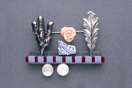 7.2 'In The Garden' 2003. Brooch; white metal, wood, paint, moonstone, cultured pearl, coral, found object