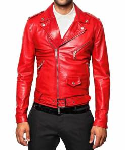mens-red-leather-biker-jacket