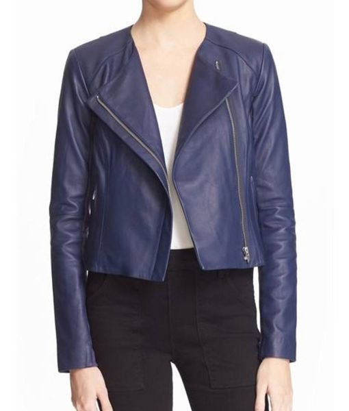 felicity-smoak-blue-leather-jacket