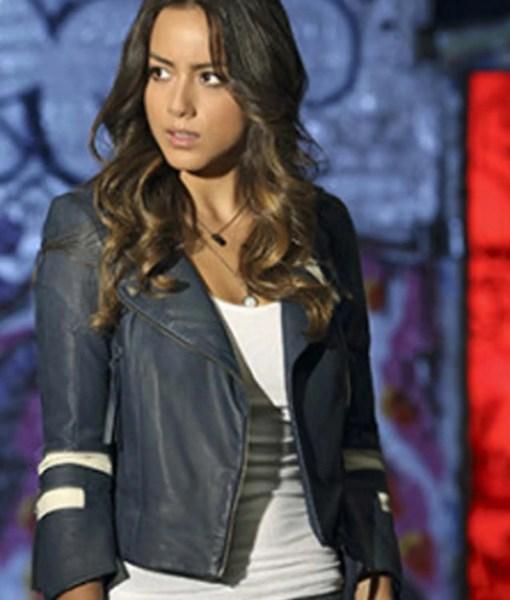 daisy-johnson-blue-leather-jacket
