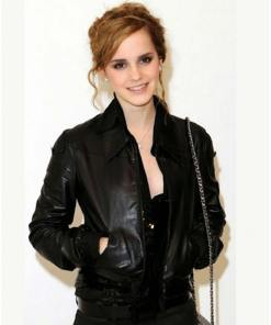 emma-watson-bomber-leather-jacket