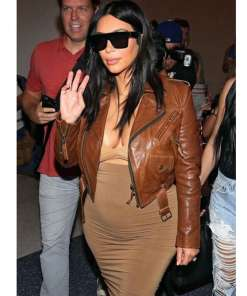 kim-kardashian-brown-leather-jacket