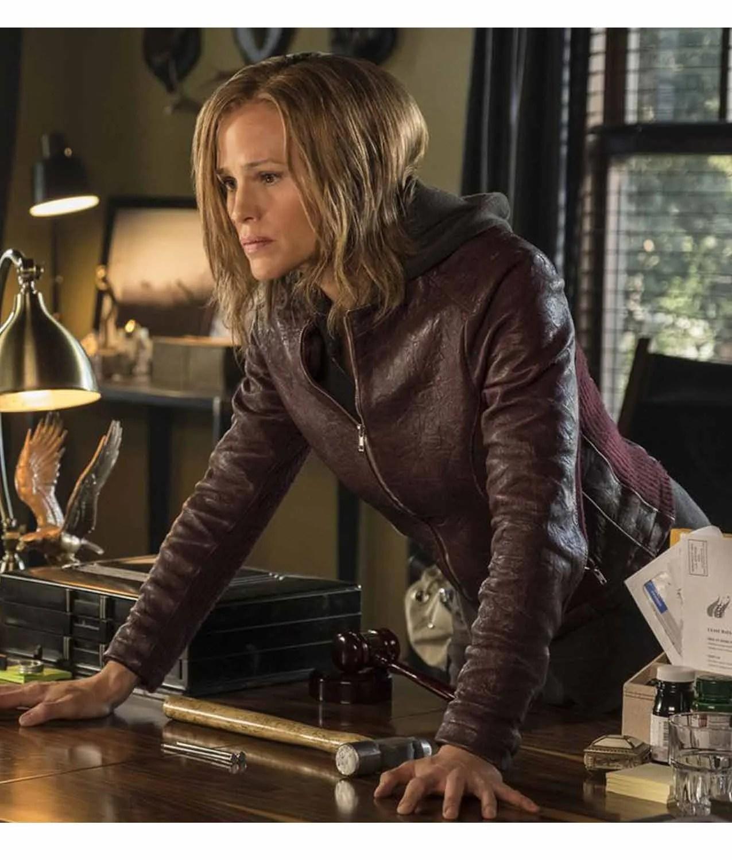Jennifer Garner Peppermint Riley North Leather Jacket