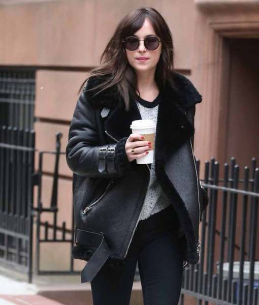 dakota-johnson-shearling-black-coat