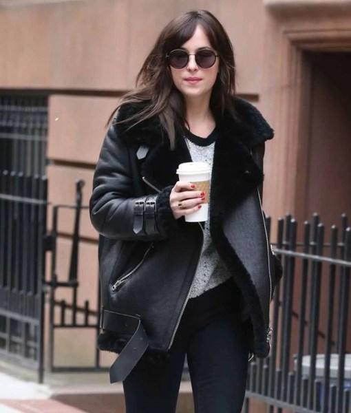 dakota-johnson-shearling-black-coat