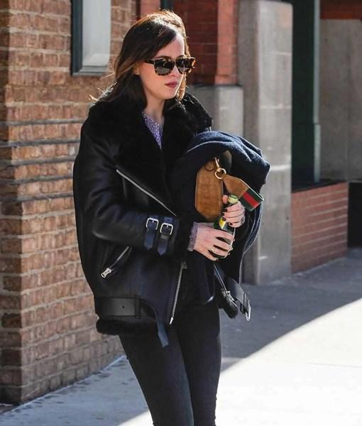dakota-johnson-shearling-black-leather-coat