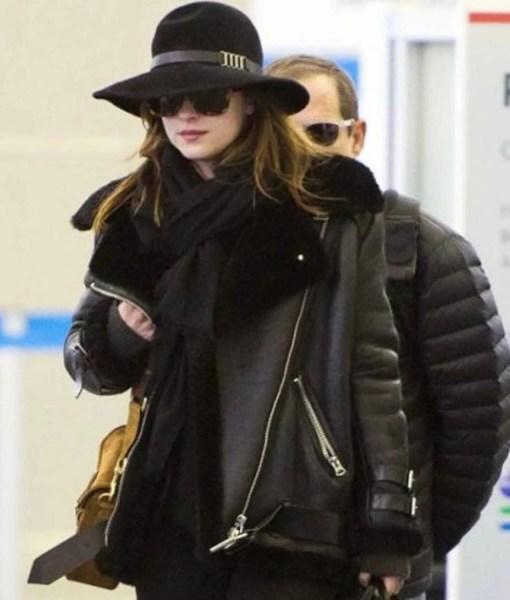 dakota-johnson-shearling-black-leather-jacket