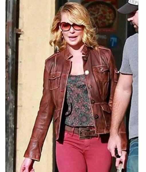 katherine-heigl-brown-leather-jacket