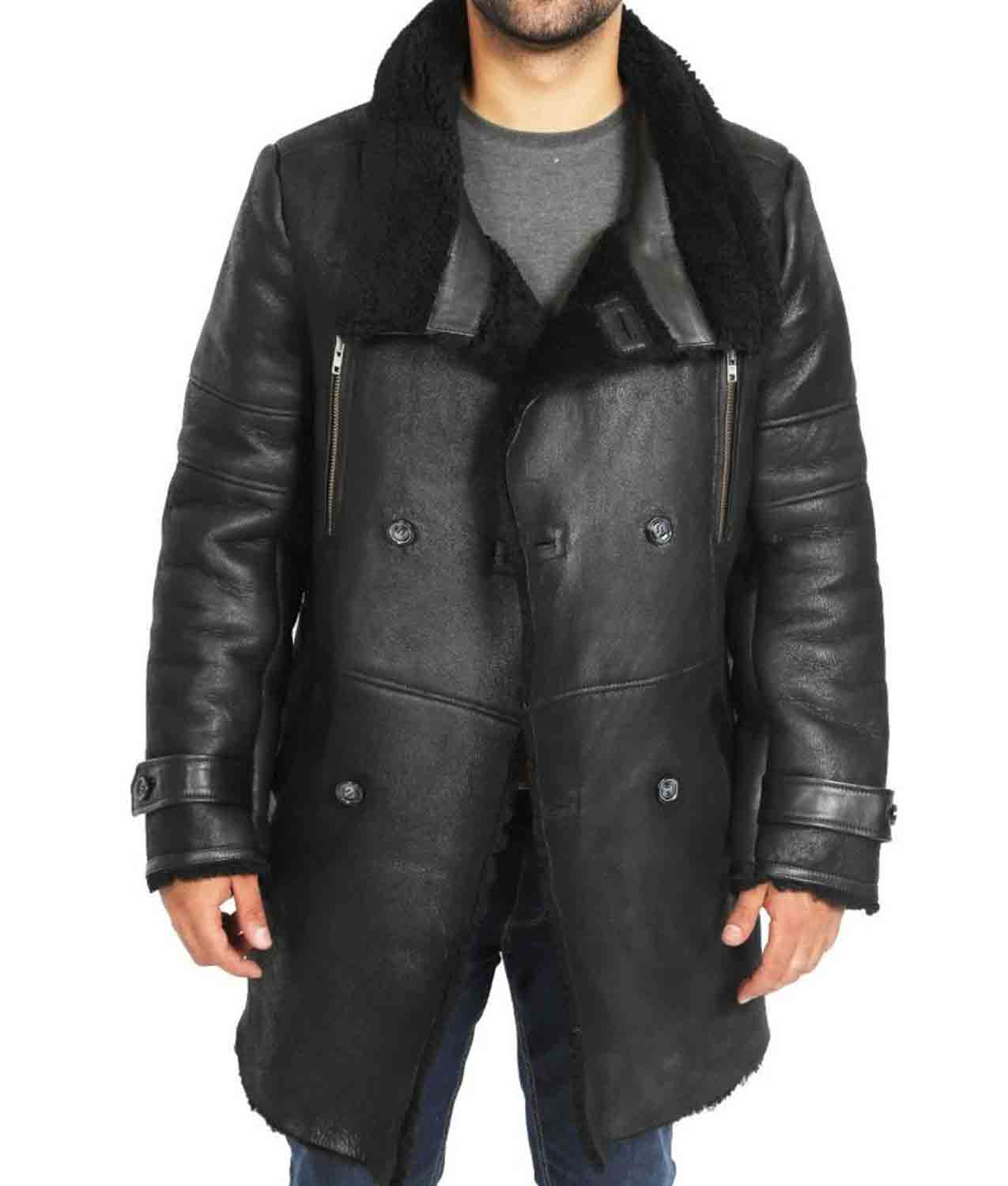 6231b99a1 Double Breasted Black Leather Sheepskin Coat Mens - Jackets Creator