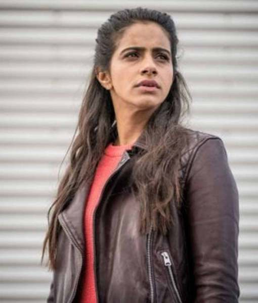 mandip-gill-doctor-who-yasmin-khan-brown-leather-jacket
