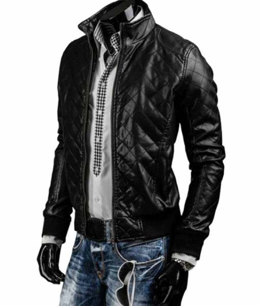 mens-black-slim-fit-quilted-leather-jacket