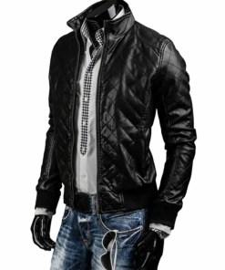 mens-black-slim-fit-quilted-leather-jacket