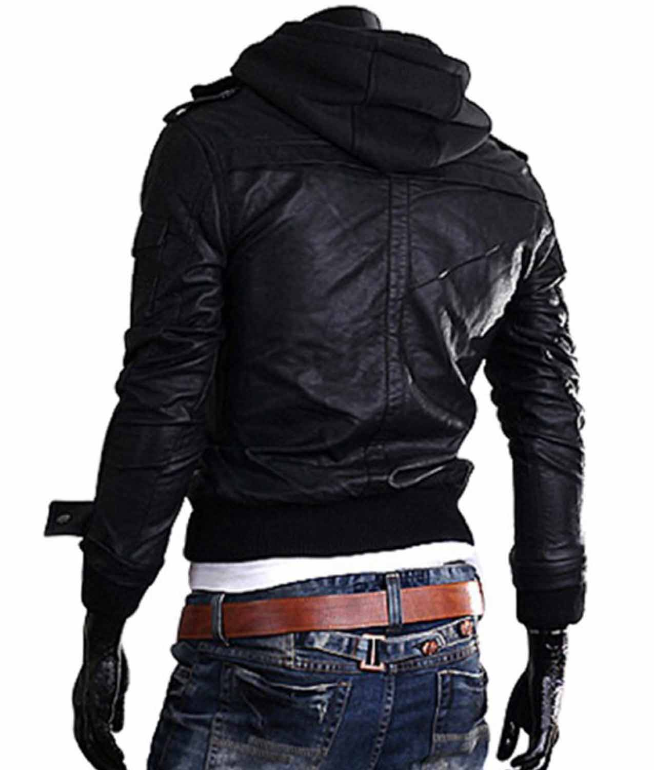 19a063352be Men's Bomber Style Slim Fit Black Leather Jacket With Hoodie ...