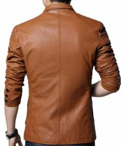 mens-slim-fit-brown-leather-blazer
