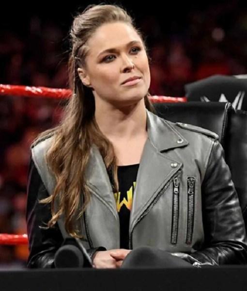 ronda-rousey-black-and-grey-leather-jacket