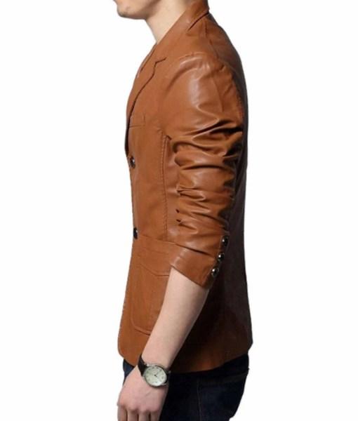 slim-fit-brown-leather-blazer
