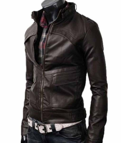 slim-fit-dark-brown-stand-collar-leather-jacket