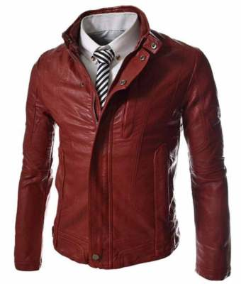 slim-fit-red-faux-leather-jacket