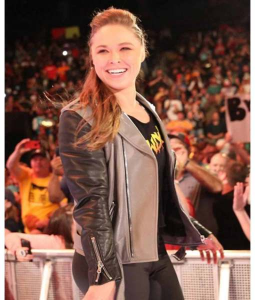 wwe-wrestler-ronda-rousey-black-and-grey-leather-jacket